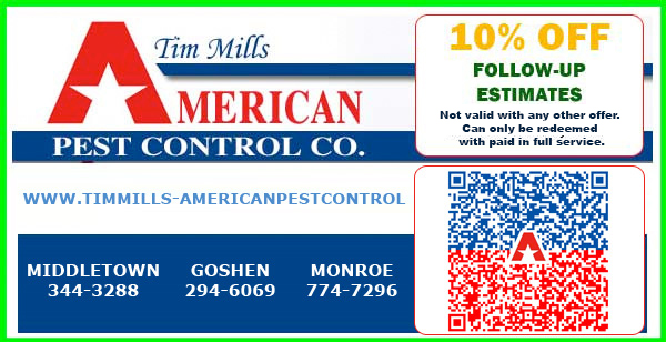 Tim Mills American Pest Control coupon for 10% off follow up estimates